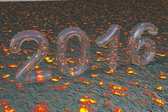 New Year 2016 on Fire Background Stock Photography