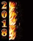 New year 2018 fire background, vector. Illustration Royalty Free Stock Photo