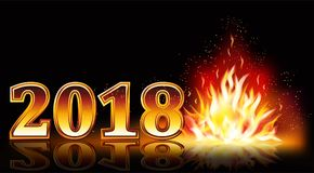 New year 2018 fire banner, vector Royalty Free Stock Image