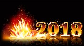 New year 2018 fire banner, vector. Illustration Royalty Free Stock Image