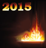 New 2015 Year fire flame background Royalty Free Stock Photography