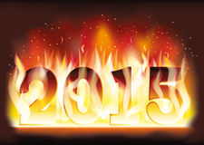 New 2015 Year fire flame card Royalty Free Stock Photography