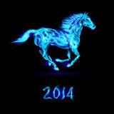 New Year 2014: fire horse. New Year 2014: running blue fire horse on black background Royalty Free Illustration