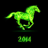 New Year 2014: fire horse. New Year 2014: running green fire horse on black background Stock Illustration