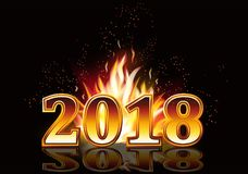 New year 2018 fire invitation card. Vector illustration Stock Images