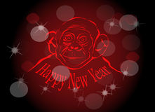New Year fire monkey. New Year fire monkey on the Chinese calendar. Bokeh effect and blur Royalty Free Stock Image