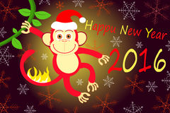 New year of the fire monkey 2016. Vector illustration of monkey, symbol of 2016 on the Chinese calendar Royalty Free Stock Image