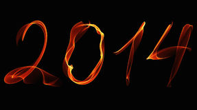 New Year 2014 fire numbers on a black. Background Royalty Free Stock Photo