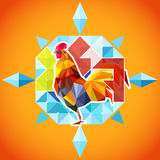 New Year of the fire rooster. Abstract illustration of new year symbol - the rooster Stock Photo