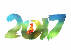 New 2017 - year of Fire Rooster. In Chinese calendar. Numbers 2017 in individual creative performance with color blurred background Royalty Free Stock Photo