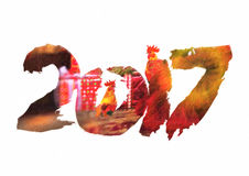 New 2017 - year of Fire Rooster. In Chinese calendar. Numbers 2017 in individual creative performance with color blurred background Stock Photography