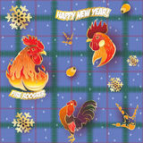 New yEar Fire Rooster Pattern. Vector seamless pattern background with hand-painted New Year holiday symbols Fire Roosters on a blue tablecloth Stock Photography