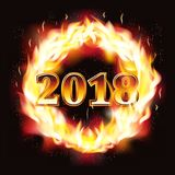 New year 2018 fire wallpaper, vector. Illustration Royalty Free Stock Photos