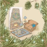New year fireplace color christmas. Vector drawing - beautiful cozy classic cute home interior, furniture, Rustic fireplace, comfortable sofa, carpet, candles Stock Image
