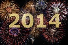 New year 2014. With firework Royalty Free Stock Photos