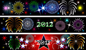 New Year Firework Banners. Vector Illustration for the New Year or independence day. Banners Background. Set of 3 Vector Illustration
