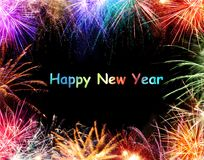New Year Firework Border. New year message with colorful fireworks border royalty free stock images