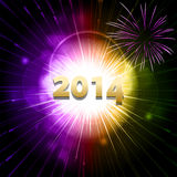 New year firework. New Year 2014 Celebration Background with green, orange, purple and red firework starburst Royalty Free Stock Images