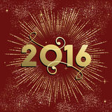 New Year 2016 firework explosion card gold Stock Photos