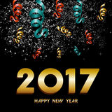 New Year 2017 firework explosion design. Happy New Year 2017 greeting card, gold text with night sky firework and confetti explosion background. EPS10 vector Royalty Free Stock Photos