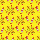 New Year Firework. Seamless pattern with rockets and fireworks in old comic style Royalty Free Stock Photo
