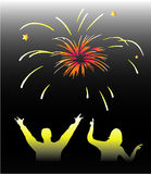 New Year -fireworks. Illustration-work withe vectors Stock Images
