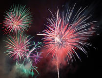 New year fireworks. Over black sky Royalty Free Stock Photo