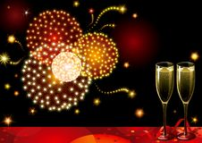 New year fireworks. Vector holiday background with two Champagne Flutes and fireworks on night dark sky Stock Photo