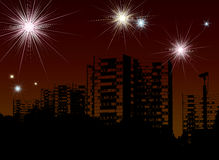 New year fireworks. City scape illustration for the 2008 new year with room to add your own text Royalty Free Stock Photos