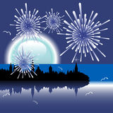 New Year with fireworks. Abstract colorful illustration with fireworks over the city and shiny moon Stock Photography