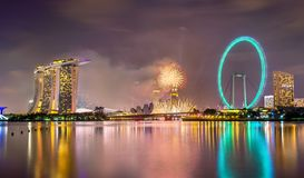 New Year fireworks above Marina Bay in Singapore. View of New Year fireworks above Marina Bay in Singapore stock image