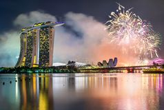 New Year fireworks above Marina Bay in Singapore. View of New Year fireworks above Marina Bay in Singapore stock images