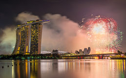 New Year fireworks above Marina Bay in Singapore. View of New Year fireworks above Marina Bay in Singapore Stock Photo