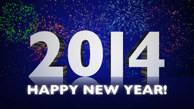 New Year 2014 Fireworks Stock Photos