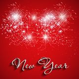 Happy New Year with fireworks background Stock Images