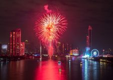 New Year Fireworks in Bangkok, Thailand Royalty Free Stock Images