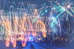 New Year fireworks on the beach. Royalty Free Stock Photos