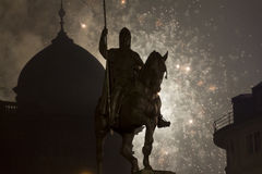 2015 New Year fireworks in behind the Wenceslas statue, Prague Stock Photo
