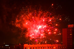 New year fireworks in berlin. Rooftop view from apartment building new year fireworks in berlin Stock Photo