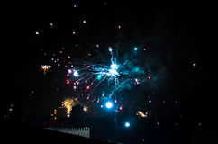 New year fireworks in berlin. Rooftop view from apartment building new year fireworks in berlin Royalty Free Stock Photo