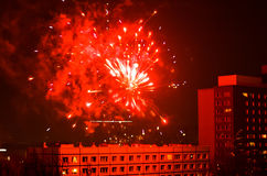 New year fireworks in berlin. Rooftop view from apartment building new year fireworks in berlin Stock Photography