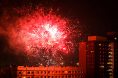 New year fireworks in berlin. Rooftop view from apartment building new year fireworks in berlin Royalty Free Stock Photos