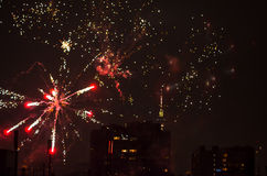 New year fireworks in berlin with tv tower Stock Images