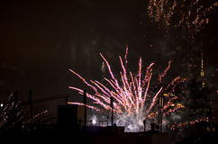 New year fireworks in berlin with tv tower Royalty Free Stock Image