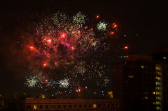 New year fireworks in berlin with tv tower Royalty Free Stock Photo