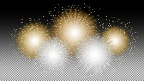 New year fireworks on black isolated background vector