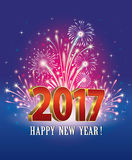 New Year 2017 with fireworks Stock Photos