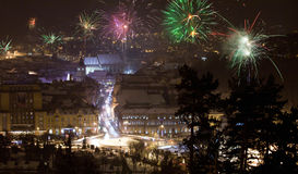 New Year fireworks in Brasov, Romania Stock Photo