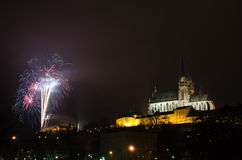 New Year fireworks in Brno Royalty Free Stock Photos