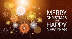 New Year Fireworks Bursting And Sparkling Against Night Background Merry Christmas Banner Royalty Free Stock Photography
